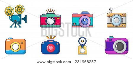 Camera Icon Set. Cartoon Set Of Camera Vector Icons For Web Design Isolated On White Background