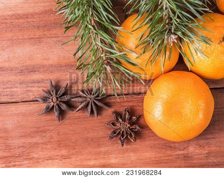 Christmas Card, Pine Branches, Spruce,wreath And Tangerines