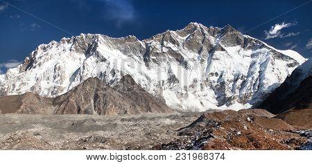 View Of Top Of Mount Lhotse South Rock Face, Sagarmatha National Park, Khumbu Valley, Nepal Himalaya