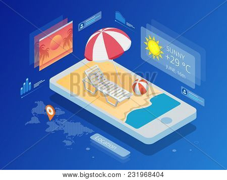 Isometric Current Weather Condition And Meteorological Forecast. Hot Weather And Summer Day. Technol