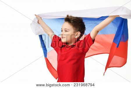 Fan Sport Boy Patriot Hold National Russian Flag Celebrating Happy Smiling Laughing Free Text Copy S