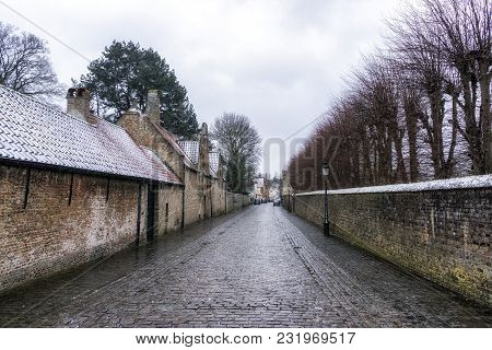 Bruges Alley View With Snow