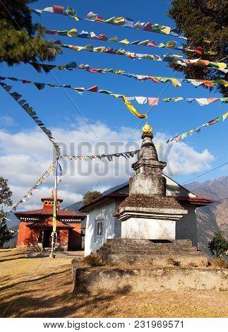 Bupsa Gompa Monastery And Stupa With Prayer Flags Near Lukla And Kharikhola Village, Khumbu Valley,