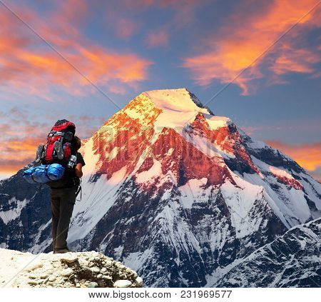 Mount Dhaulagiri With Climber Or Tourist, Evening Sunset View Of Mount Dhaulagiri With Beautiful Clo