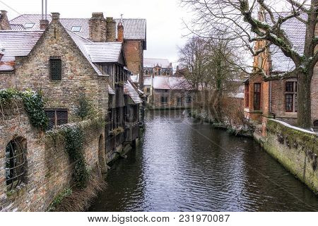 Bruges Canal View In Winter