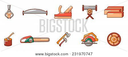 Cut Wood Tool Icon Set. Cartoon Set Of Cut Wood Tool Vector Icons For Web Design Isolated On White B