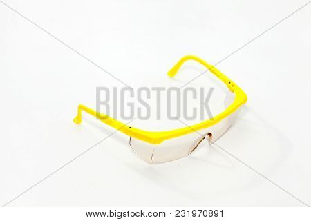 Safety Glasses Protection Isolated On A White Background