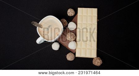 Cofe, Stack Of Black And White Chocolate Isolated On Black Background, Top View With Copyspace For Y