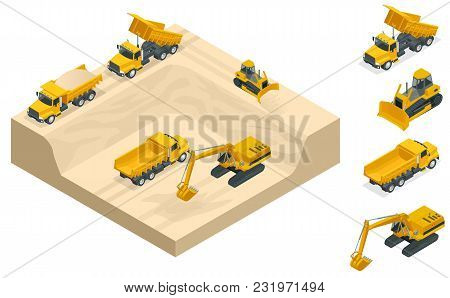 Excavators And Bulldozers Dig A Pit On The Sand Quarry. A High-mining Industry Machinery Technician