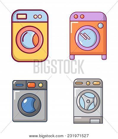 Wash Machine Icon Set. Cartoon Set Of Wash Machine Vector Icons For Web Design Isolated On White Bac