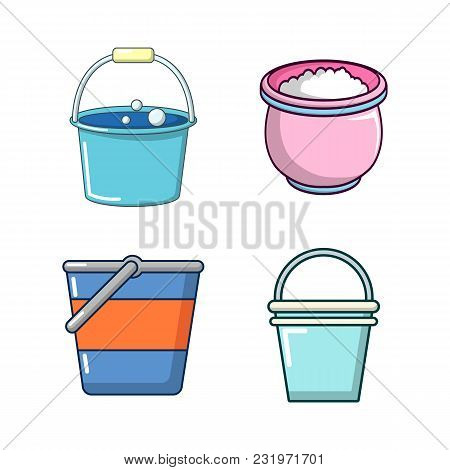 Bucket Icon Set. Cartoon Set Of Bucket Vector Icons For Web Design Isolated On White Background
