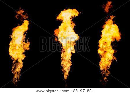Set Of Three Fire Pillars. Flame Tongue Goes From Gas Burner.