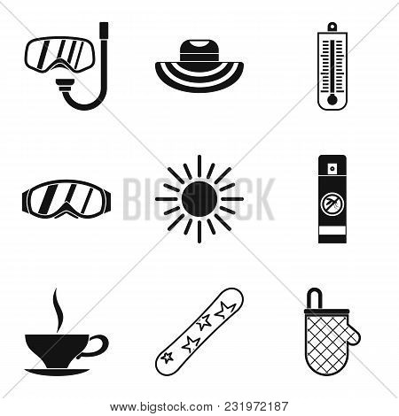 Relaxation Icons Set. Simple Set Of 9 Relaxation Vector Icons For Web Isolated On White Background