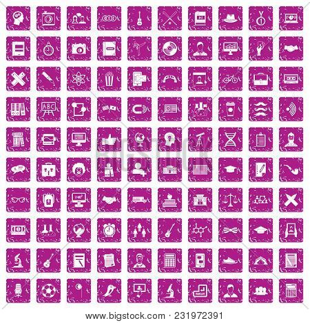 100 Student Icons Set In Grunge Style Pink Color Isolated On White Background Vector Illustration
