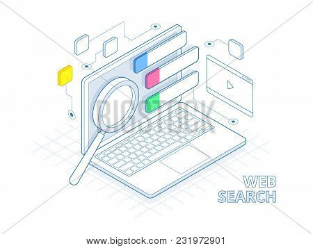 Isometric Search Engine Result Page Flat Vector. Page Showing Search Results Of A Query, Web Search