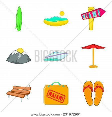 Beach Holiday Icons Set. Cartoon Set Of 9 Beach Holiday Vector Icons For Web Isolated On White Backg