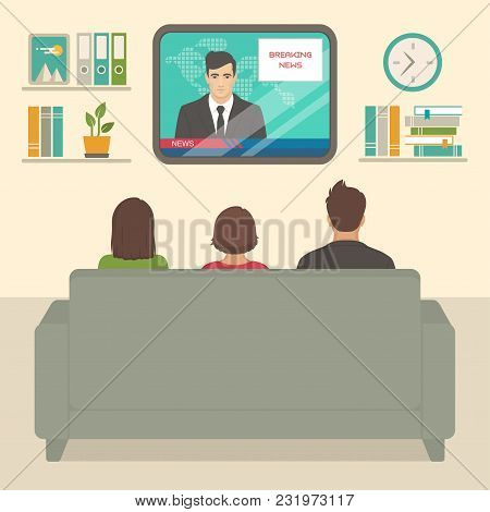Vector Illustration Of  Family Tv Watching At Home, People Sitting On Sofa Watching Television In Ro