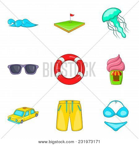 Spare Time Icons Set. Cartoon Set Of 9 Spare Time Vector Icons For Web Isolated On White Background