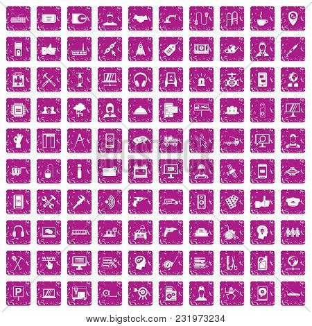 100 Support Center Icons Set In Grunge Style Pink Color Isolated On White Background Vector Illustra