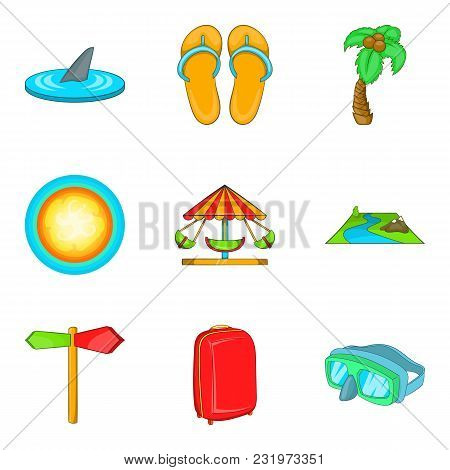 Recreational Activity Icons Set. Cartoon Set Of 9 Recreational Activity Vector Icons For Web Isolate