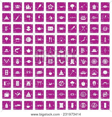 100 Sushi Bar Icons Set In Grunge Style Pink Color Isolated On White Background Vector Illustration