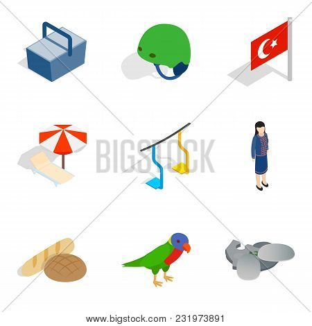 Furlough Icons Set. Isometric Set Of 9 Furlough Vector Icons For Web Isolated On White Background