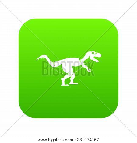 Tyrannosaur Dinosaur Icon Digital Green For Any Design Isolated On White Vector Illustration