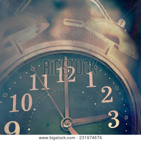 hazy clock at 3 am in the morning , can not sleep concept