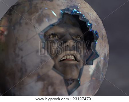 grimy man in a broken space suit, 3d illustration