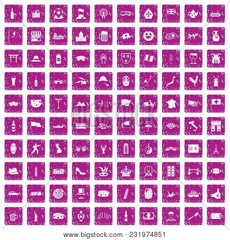 100 Tourist Attractions Icons Set In Grunge Style Pink Color Isolated On White Background Vector Ill