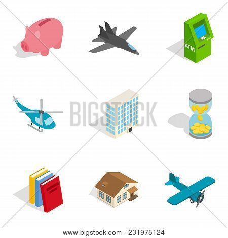Economic System Icons Set. Isometric Set Of 9 Economic System Vector Icons For Web Isolated On White