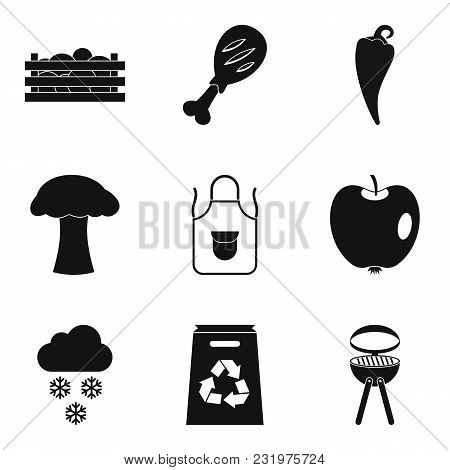 Produce Icons Set. Simple Set Of 9 Produce Vector Icons For Web Isolated On White Background