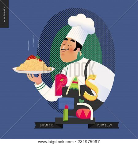 Italian restaurant set - italian restaurant logo with a cook enjoing the pasta smell and lettering Pasta, cartoon character