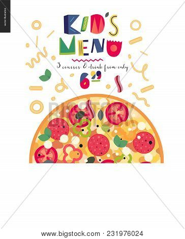 Italian Restaurant Set - Pizza And Lettering Kids Menu