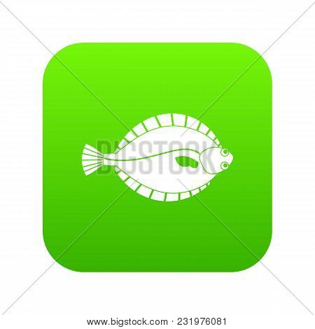 Flounder Icon Digital Green For Any Design Isolated On White Vector Illustration