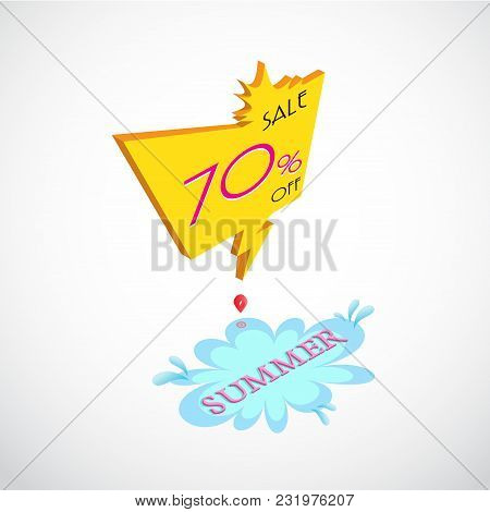 Summer Big Sale Background,  Vector Illustration Isometric Sale Banner, Sale Tag With Business Text,