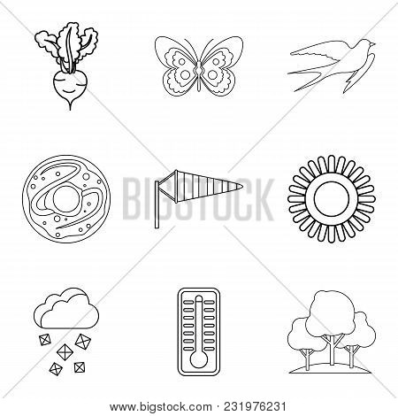 Wheat Variety Icons Set. Outline Set Of 9 Wheat Variety Vector Icons For Web Isolated On White Backg