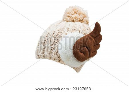 Women's Knitting Cap,isolated On White Background With Clipping Path.
