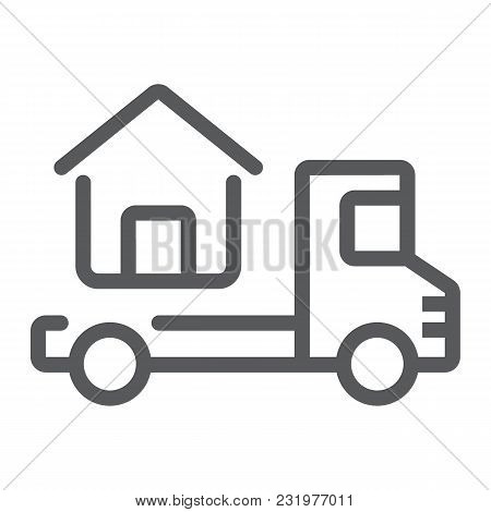 Truck Delivers The House Line Icon, Real Estate And Home, Home Delivery Vector Graphics, A Linear Pa