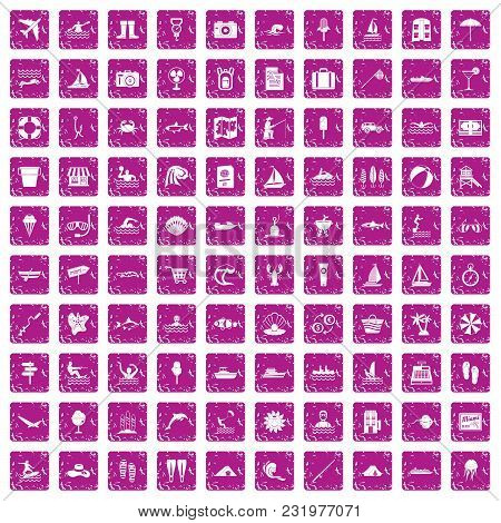 100 Water Recreation Icons Set In Grunge Style Pink Color Isolated On White Background Vector Illust
