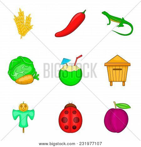 Vegetable Origin Icons Set. Cartoon Set Of 9 Vegetable Origin Vector Icons For Web Isolated On White