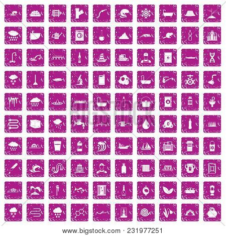 100 Water Supply Icons Set In Grunge Style Pink Color Isolated On White Background Vector Illustrati