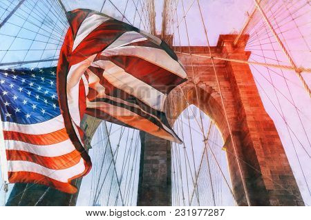 United States Flag At Top Of Brooklyn Bridge. There Is A Deep Blue Sky On Background, On Foreground