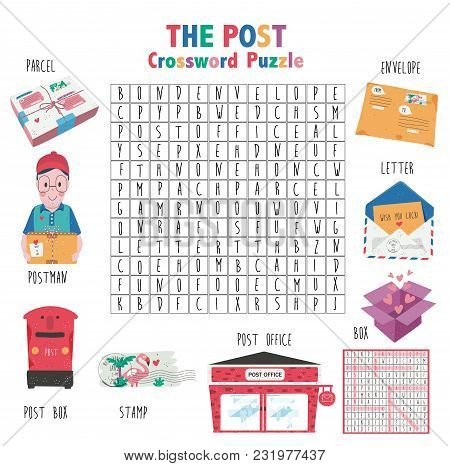 Crossword Game About The Post For Kids, Word Search Puzzle With Vocabulary And The Answer, Doodle Ca