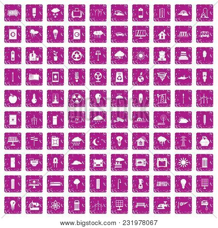 100 Windmills Icons Set In Grunge Style Pink Color Isolated On White Background Vector Illustration