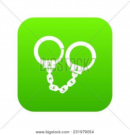 Handcuffs Icon Digital Green For Any Design Isolated On White Vector Illustration