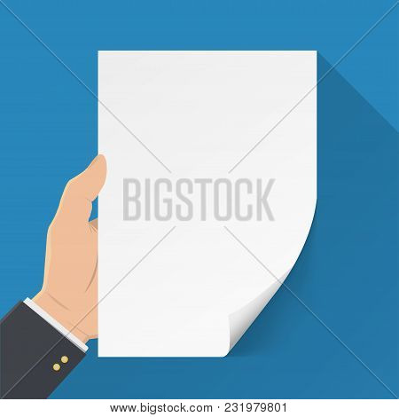 Hand Holding Blank Sheet Of Paper. Template Blank Sheet Of Paper. Mockup A4 Blank Sheet. Hand With S