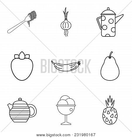 Green Cafe Icons Set. Outline Set Of 9 Green Cafe Vector Icons For Web Isolated On White Background