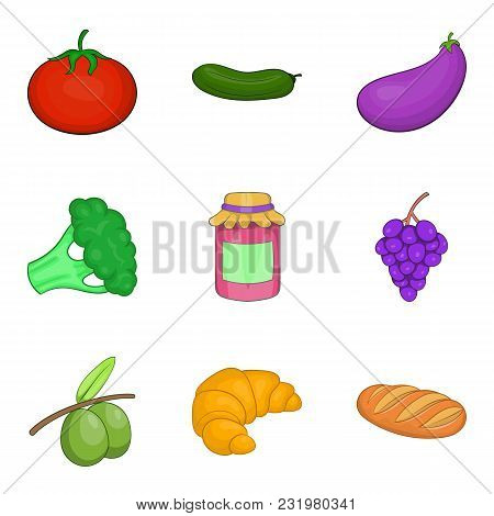 Farm Harvest Icons Set. Cartoon Set Of 9 Farm Harvest Vector Icons For Web Isolated On White Backgro