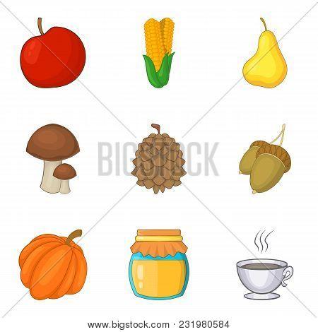 Adequate Nutrition Icons Set. Cartoon Set Of 9 Adequate Nutrition Vector Icons For Web Isolated On W